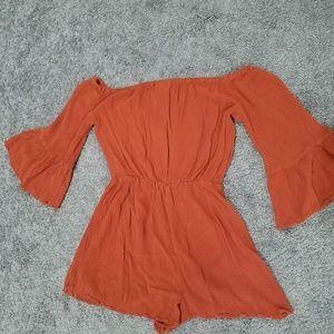 Topshop Dresses - Burnt Orange Romper From TopShop Size 2
